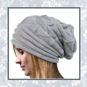 🌸 New gray beanie oversized large unisex cap hat